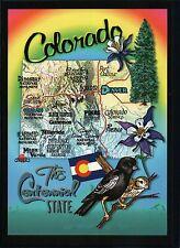 Colorado, Denver Boulder Mesa Verde Pikes Peak Flag Bird etc, State Map Postcard