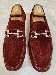 SALVATORE FERRAGAMO Parigi Rouge Drivers Loafers Shoes Size 10.5 D