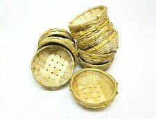 "1/3/6/12 PCS 3"" Small Round Bamboo Basket Tray Thai Wickerwork Handcraft Lot"