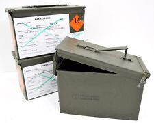 NATO 50Cal Ammo Box Army Storage Ammunition Surplus Issue Tin Tool Box Metal