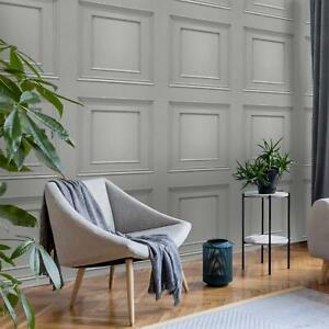 Oliana 3D Effect Wood Panel Dark Grey 8492 Belgravia Wallpaper Feature Wall