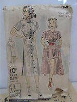 Vintage 1940's Du Barry Size 16 Playsuit Sewing Pattern