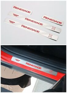 For Jeep Renegade 2015 2016 2017 Stainless Steel Red Door Sill Scuff Plate 4pcs