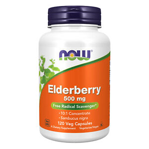 Now Foods Elderberry 500 mg 120 Veg Capsules FREE SHIPPING. MADE IN US
