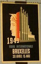 VINTAGE POSTER INTERNATIONAL FAIR OF BRUXELLES circa 1949