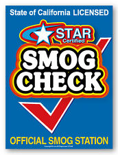 """Smog Check, Star Certified, 30"""" x 40"""" window decal label sticker sign"""