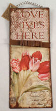 Love Lives Here Garden Botanical Romantic Tulip Metal Wall Sign Plaque