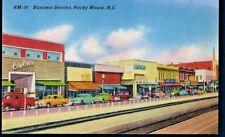 ROCKY MOUNT  NC ~ POSTCARD LINEN   ~  BUSINESS DISTRICT  Stores Cars
