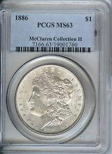 1886 McClaren Collection II Morgan Silver Dollar PCGS MS63, White Coin!