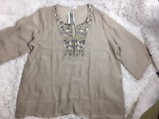 Spense Women Plus Size 1X Top Tunic Blouse Sequin Embroidered Beige Hi-Lo New