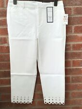 Charter Club WOMENS slim leg tummy slimming cropped trousers WHITE US12 UK16