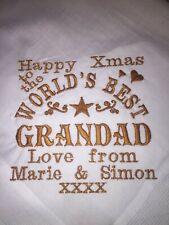 Personalised Embroidered GRANDAD hankie, Christmas Xmas birthday present gift