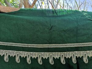 Vintage Large Wool Fabric Sari paisley embelishment Antique Green India Organic