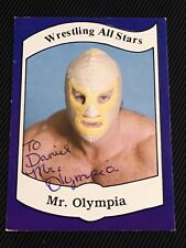 MR. OLYMPIA JERRY STUBBS 1983 WRESTLING ALL STARS ROOKIE SIGNED AUTOGRAPHED CARD