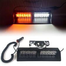 12 LED Windshield Visor Dash Hazard Warning Sucker Strobe Light Bar Amber/White