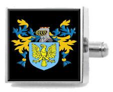 Nancarrow England Heraldry Crest Sterling Silver Cufflinks Engraved Box