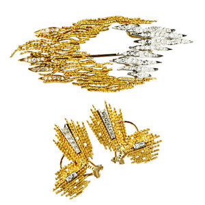 Gorgeous 18k Gold/Platinum Diamond Brooch and Earring Set 1960s TDW = 1.80 Cts