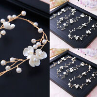 Women Bride Headband Floral Pearl Headwear Hair Jewelry Accessories Elegant
