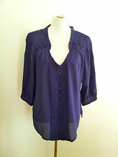 Katherine size 16 purple rayon blend top with v-neck and three-quarter sleeves
