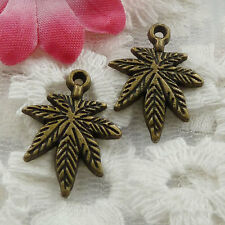 Free Ship 70 pieces bronze plated leaves charms 21x15mm #1059