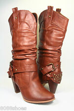 Wome's  Stylish Low Heel Western Cowboy Mid Knee High Boot With Buckles Shoes