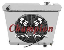 "1963-1966 Olds Cutlass Radiator & Shroud & 16"" Fan & Relay Kit 4 Row Aluminum"