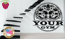Wall Stickers Vinyl Decal Bodybuilding Gym Iron Weight PUT YOUR OWN NAME  z826