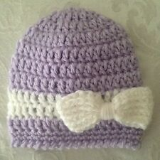 Hand Crocheted NEWBORN Baby Infant BEANIE CAP HAT Girls MADE IN THE USA