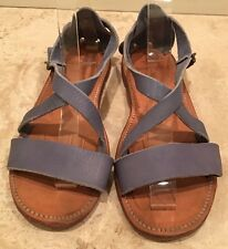 RALPH LAUREN COLLECTION Blue Soft Leather Bench Made Flat Sandals 9.5M Maine USA