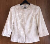CHICO'S Size 0 Small Blazer Off-White Floral Embossed Dressy 3/4 Sleeve Jacket