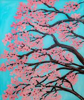 Sakura Tree Oil Painting Cherry Blossom Floral Wall Art Impasto Branch Patel Sky