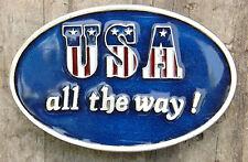 "VTG ""USA All The Way"" Belt Buckle-Enamal-Capt. Hawks Sky Patrol-1981-Made in USA"