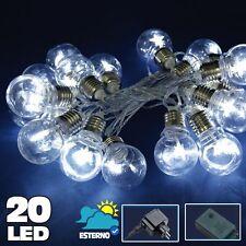 Catena Luminosa 20 Bulbi forma Lampadina Trasparente LED Bianco Freddo Stella