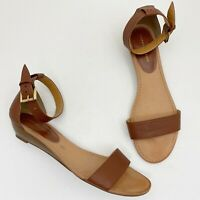 TOMMY HILFIGER Molina2 Brown Faux Leather Low Wedge Ankle Strap Sandals Size 9M