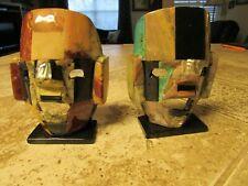 "Set of porcelain African Multi Color Art Glass Mask Sculpture 5"" by 4"", 2"" deep"