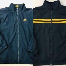 Vintage Adidas Reversible Collar Jacket Mens X Large XL Blue 3 Stripe Full Zip