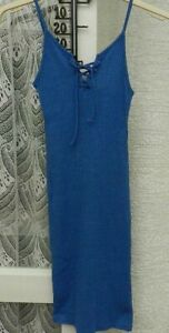 ( Ref 3788  ) Topshop - Size 4 - Blue Sleeveless Knee Length Summer Dress
