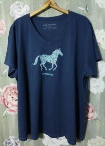 Life Is Good Crusher V-Neck T-Shirt Women's XXXL Flower Horse Darkest Blue NEW