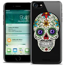 """Coque Crystal Gel Pour iPhone 7 (4.7"""") Extra Fine Souple Skull Maria's Flower"""