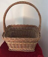 "Antique Rectangular Woven Basket w Woven Handle - Eastern PA - 15"" High"
