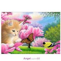 Butterfly Cat 5D Diamond DIY Painting Kit Home Decor Craft 40 X 30cm