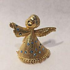 Vtg Goldtone SIGNED DODDS Cherub Angel w/ Blue Rhinestone CHRISTMAS BROOCH PIN