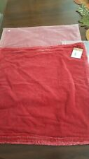 Pottery Barn NWT Fringe Velvet Cardinal Red (2) Pillow Covers