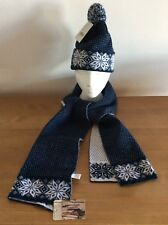 HAT & SCARF NAVY FAIRISLE BOBBLE BNWT