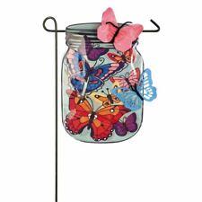 Garden Size Flag Mason Jar Butterflies Garden Linen 14L4755BL