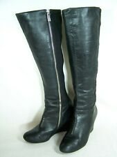 Michael Kors Women's Black Clara Leather Wedge Heel Boot Shoes Size 6 M