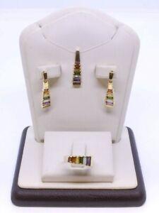 14K Solid Yellow Gold Baguette Multi-Color Gemstone Ring, Pendant & Earrings Set