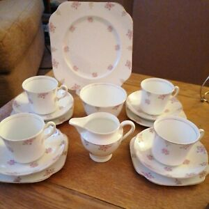 Vintage Bone China Pretty White And Pink Flower Patterned Tea Set 15 Piece