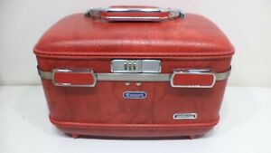 Vintage American Tourister Escort RED Combination Lock Carry On Makeup Suitcase