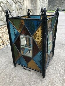 Victorian Edwardian Leaded Stained Glass Hanging Hall Light Lantern
